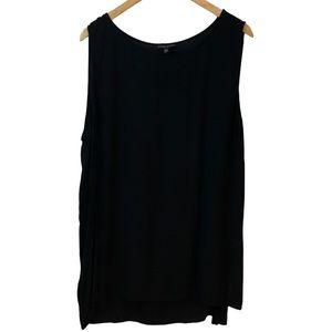 Eileen Fisher Woman Black Sleeveless Silk Tunic 2X